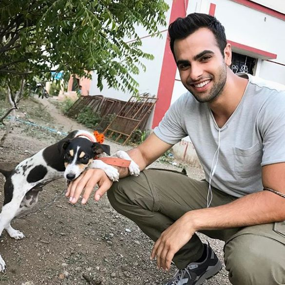 Ankur Rathee with a dog