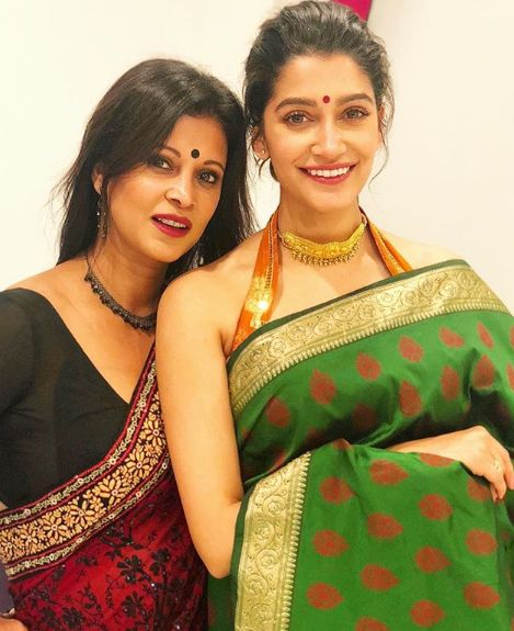 Anuja Joshi with her mother