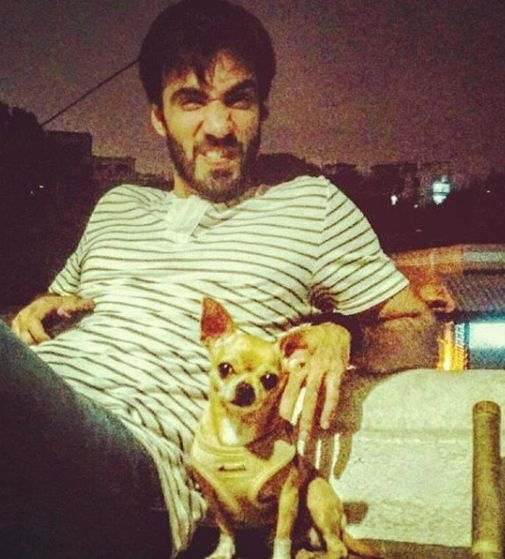 Avinash Tiwary with his pet dog