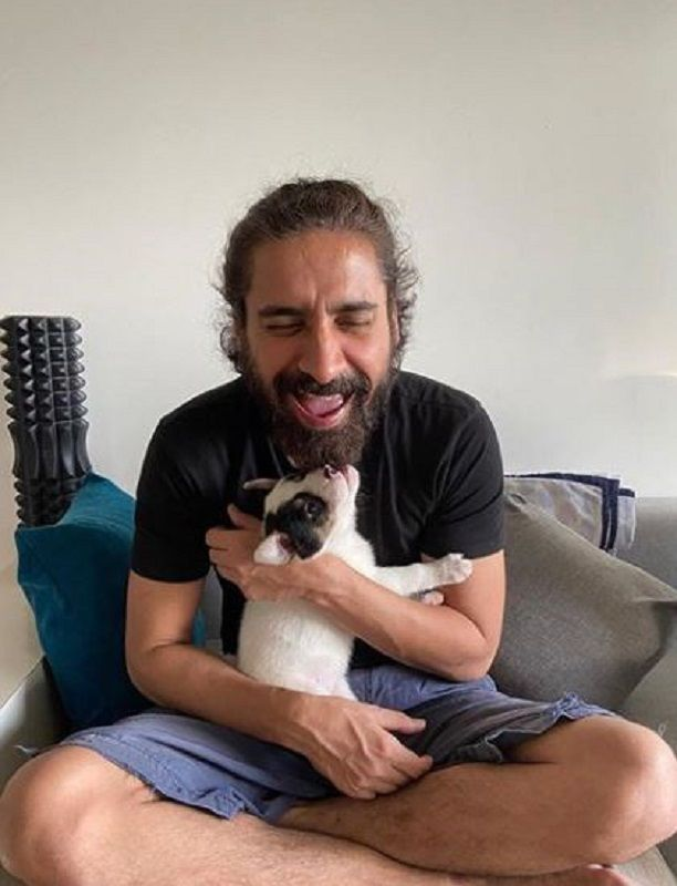 Chandan Roy Sanyal With His Pet Dog