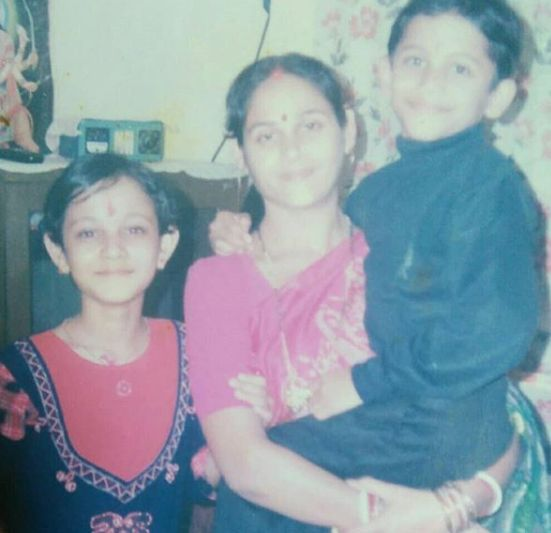 Kaveri Priyam with her mother and brother
