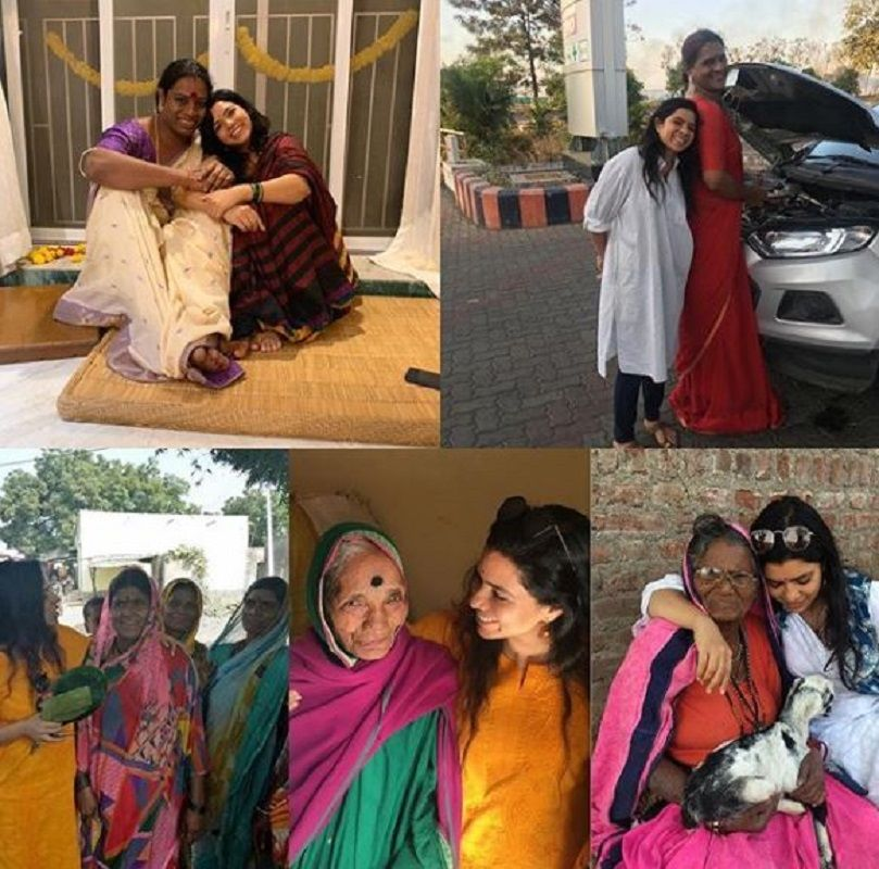 Rajshri Deshpande With the People Benefited From Her NGO