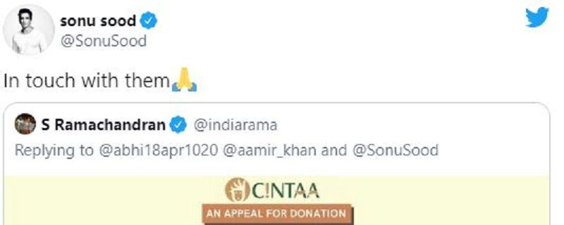 Sonu Sood's Reply on CINTAA's Post for Anupam Shyam's Help