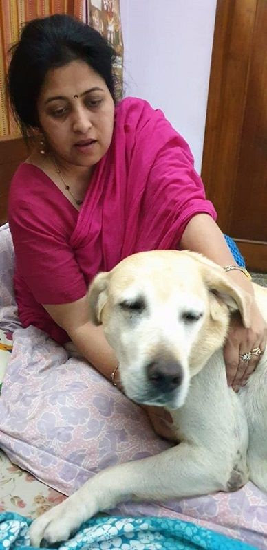 Sujata Paul With Her Pet Dog