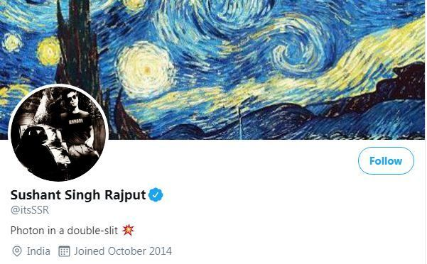 Twitter cover photo of Sushant Singh Rajput