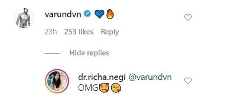Varun Dhawan's Comment on Dr Richa Negi's Video