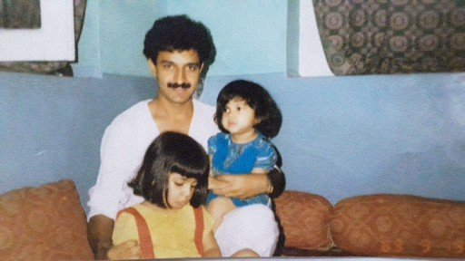 A picture of Iltija Iqbal Mufti in her childhood with her father and elder sister