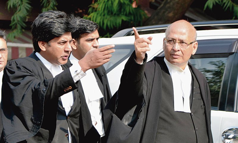 Abhishek Singhvi with his team of lawyers