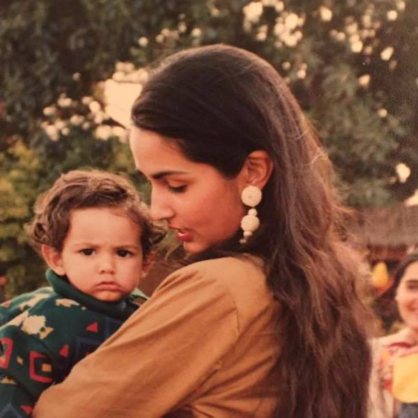 Childhood picture of Arjan Singh Dugal with mother Simar Dugal