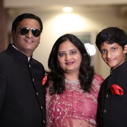 Dr Gautam Bhansali With His Wife and Son