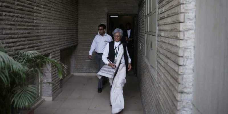 Indira Jaising walking out of a courtroom