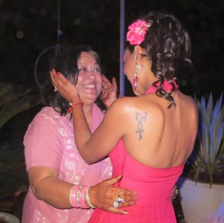 Malini Agarwal with her mother