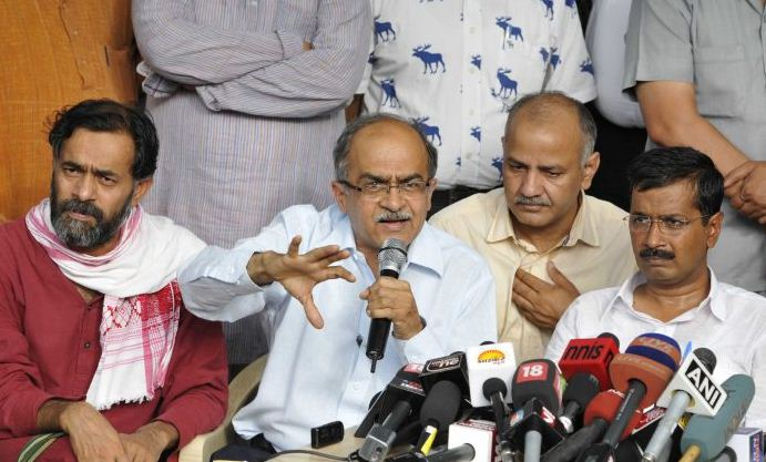 Prashant Bhushan along with other members of AAP addressing a press conference