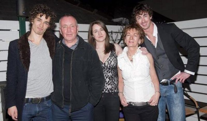 Robert Sheehan with his family