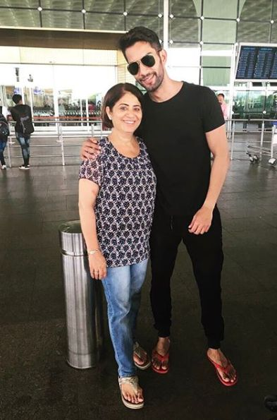 Sahil Uppal with his mother
