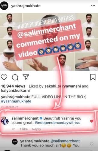 Salim Merchant's Comment on Yashraj Mukhate's Video
