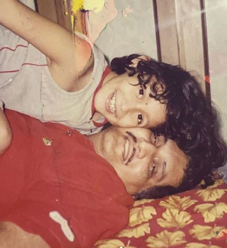 Shreya Chaudhary's Childhood Picture With Her Father