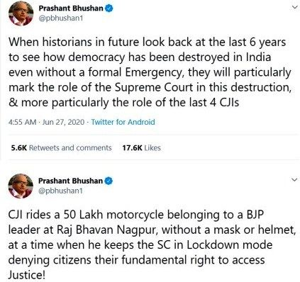 Tweets by Prashant Bhushan for which he was charged with contempt of court