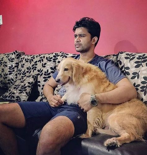 Abijeet Duddala With His Pet Dog, Bobo
