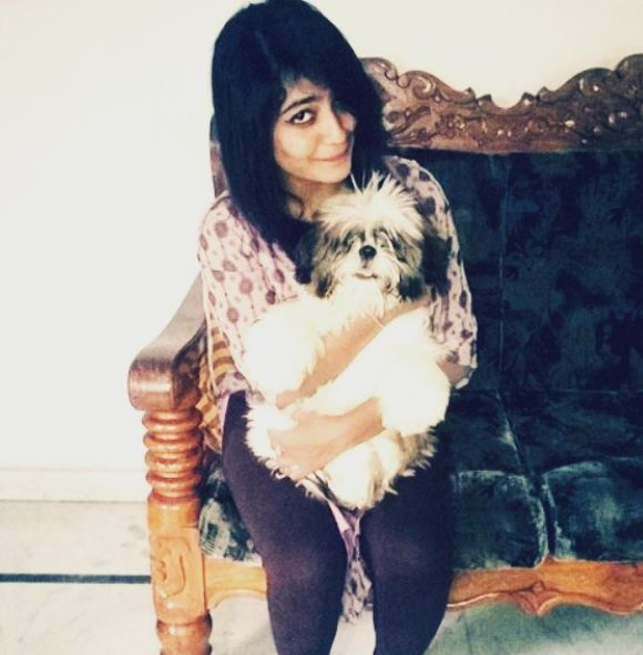 Alekhya Harika with her pet dog