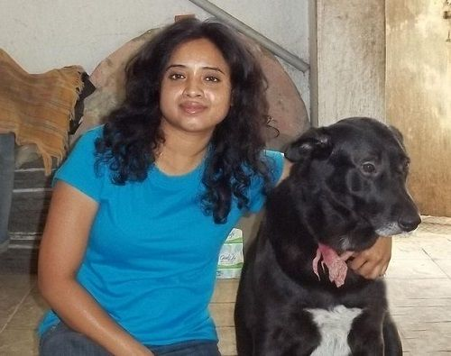 Devi Nagavalli With Her Pet Dog