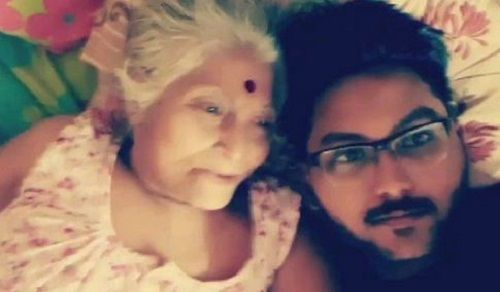 Jaan Sanu With His Grandmother
