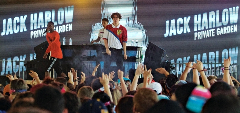 Jack Harlow performing at a concert in Louisville