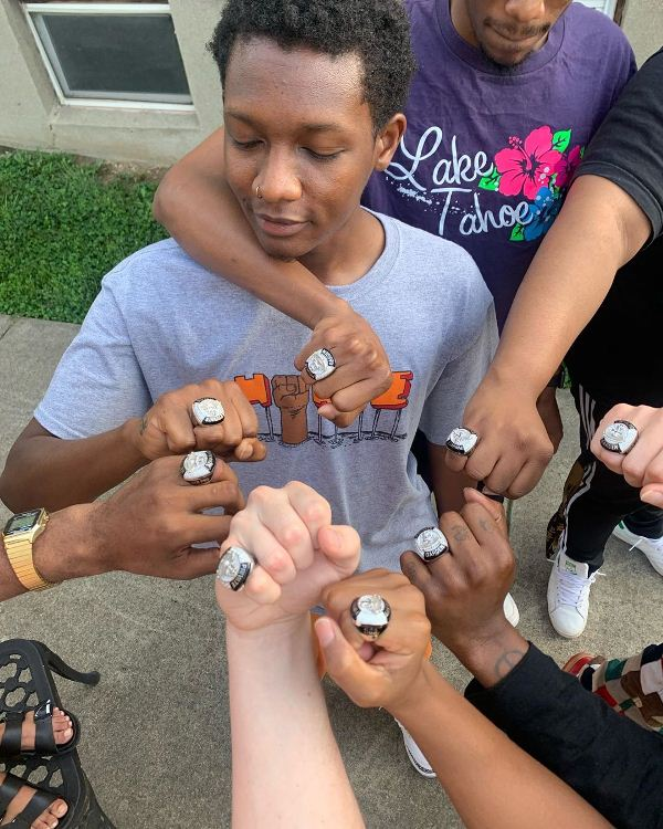Jack Harlow's team with the custom rings