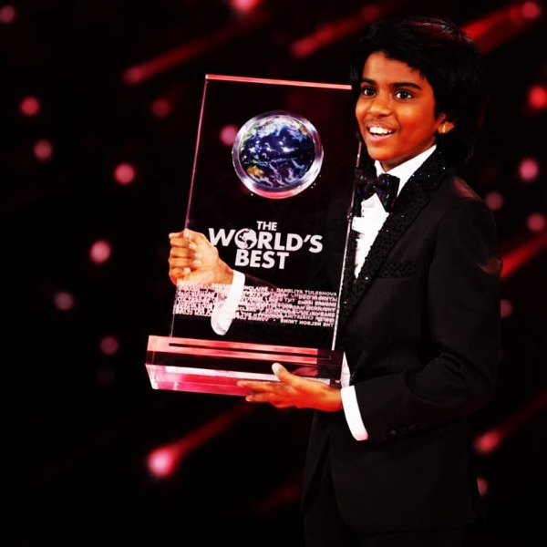 Lydian Nadhaswaram with the winning trophy of talent show