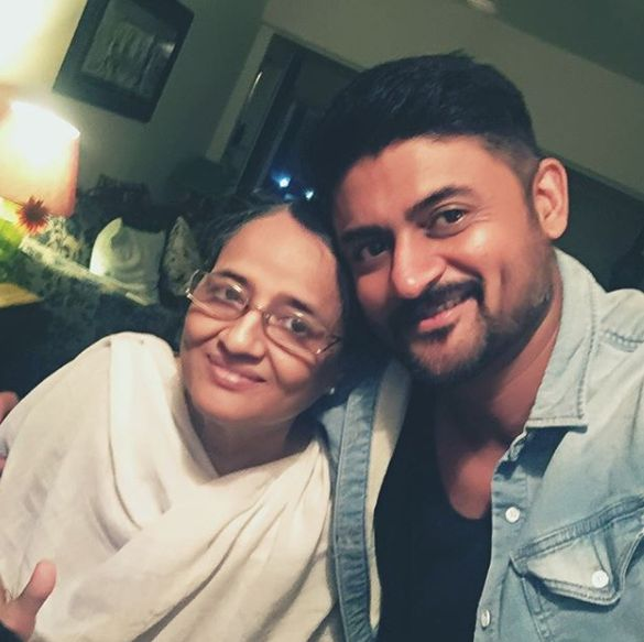 Manav Gohil with his mother