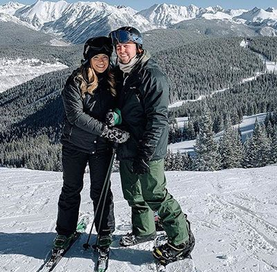 Nick Bare Skiing with his Fiancée