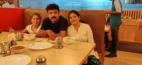 Prabeesh Chakkalakkal With His Wife and Daughter