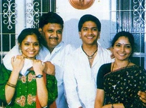 S. P. Charan With His Sister and Parents
