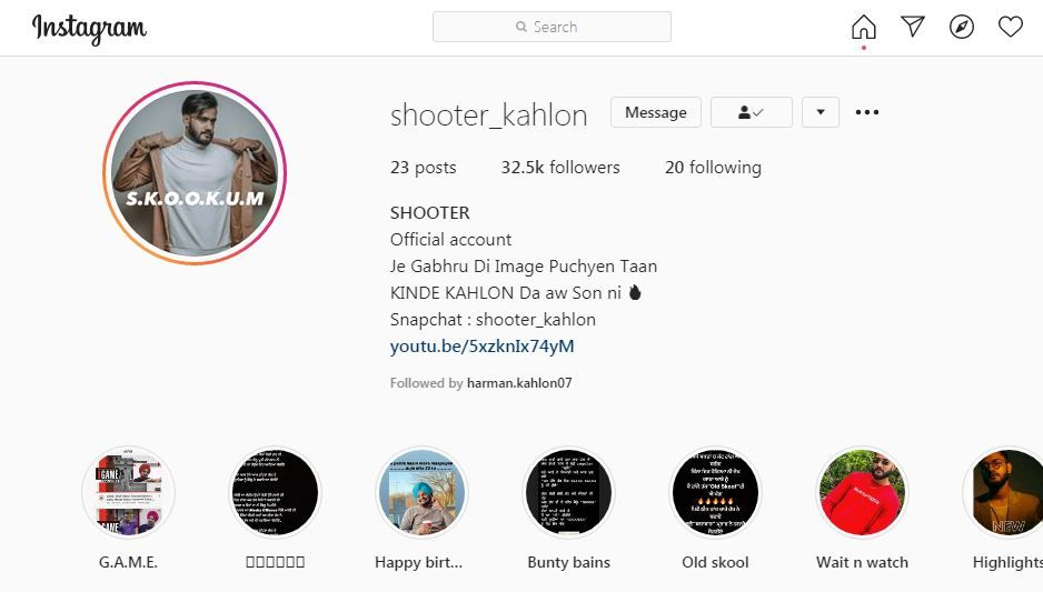 Shooter Kahlon's Instagram Profile