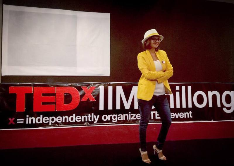 Suhani Shah during a TEDxTalk event at IIM Shillong