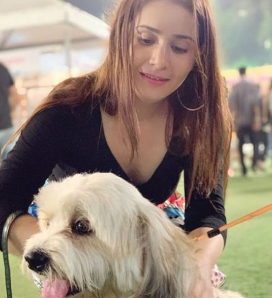 Tanya Purohit with her dog