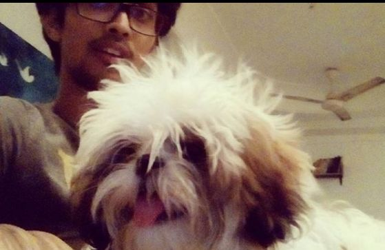 Tushar Pandey with his pet dog