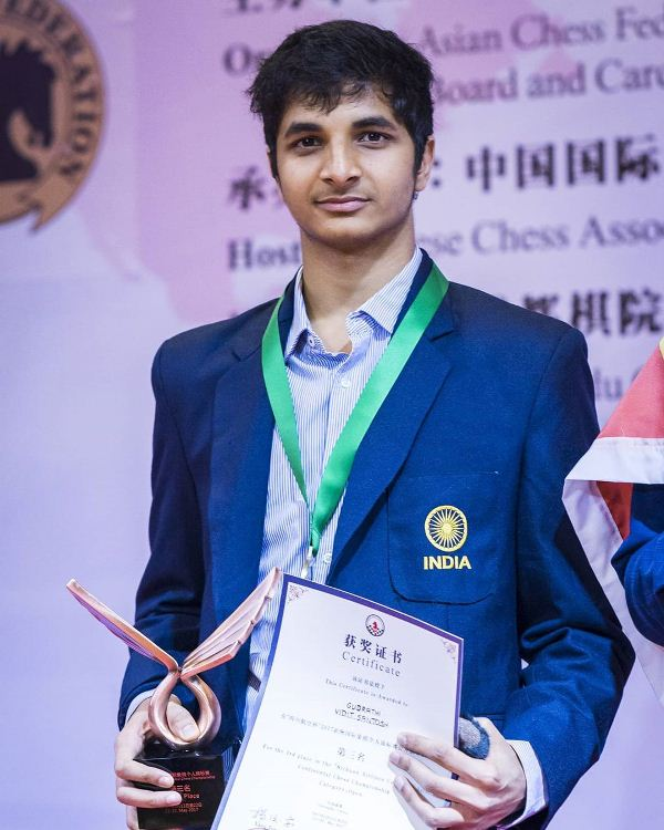 Vidit Gujrathi after winning bronze medal in Asian Championship 2017
