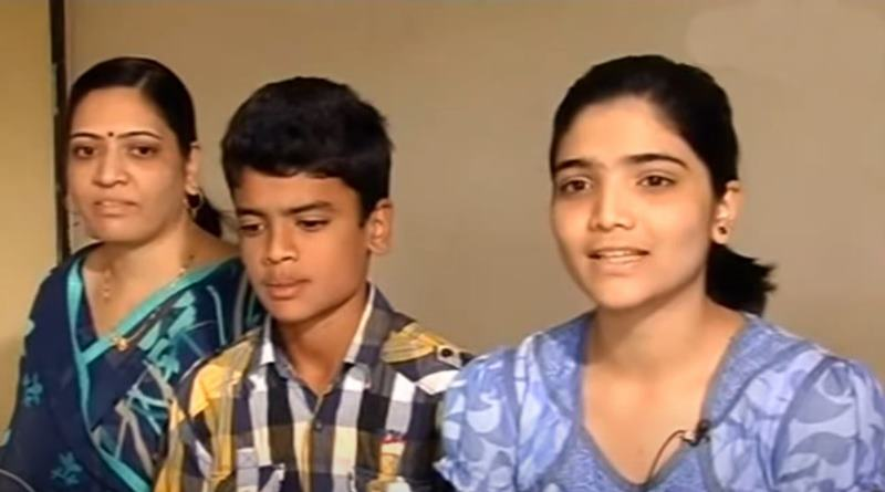 14 years old Digvijay Deshmukh with his mother and elder sister