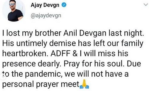 Ajay Devgan's Post for His Brother