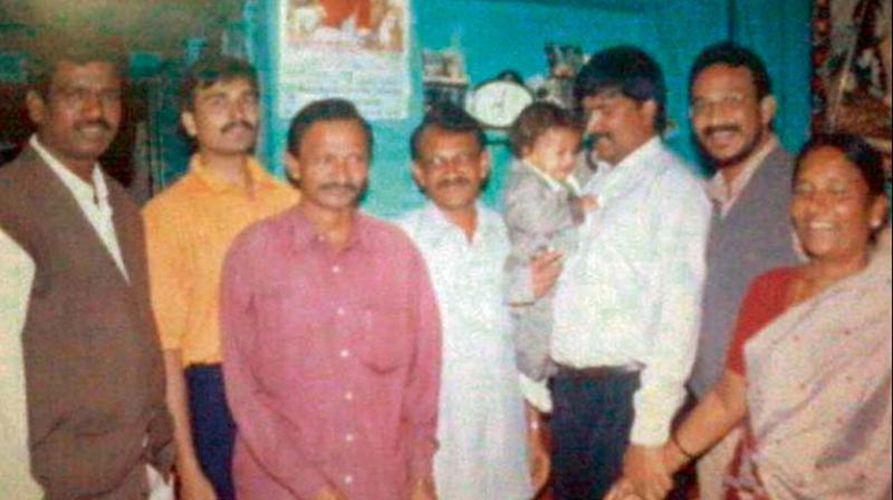 Bezawada Wilson (second from right) with his siblings, Yesupadam, Mark, and Annamma at their KGF house