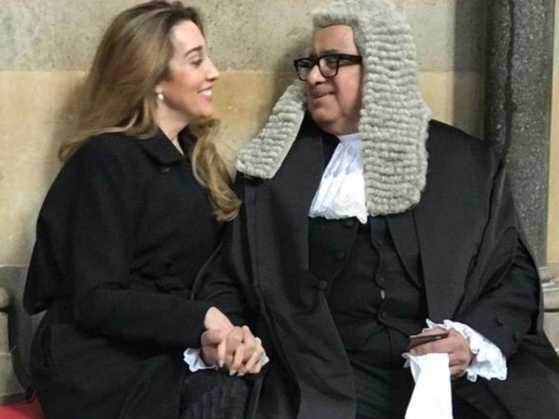 Caroline Brossard with Harish Salve