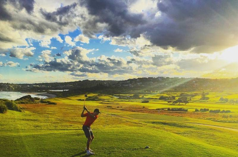 Chris Green playing golf at a golf club in Collaroy, Australia
