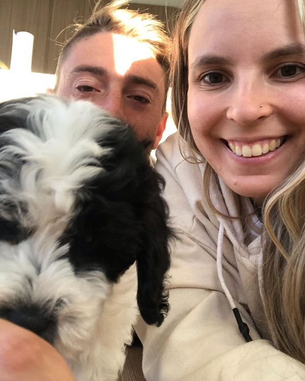 Daniel and Danii Sams with their dog, Ollie