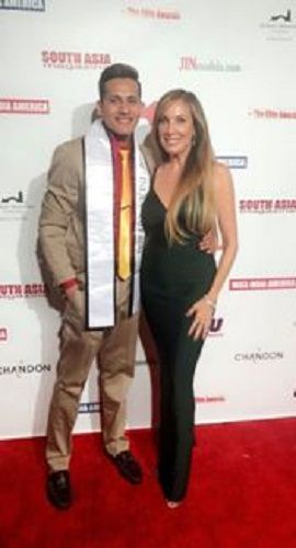 Dhaval Panchal and Cindy Cowan at Mr. India America in Los Angeles, California
