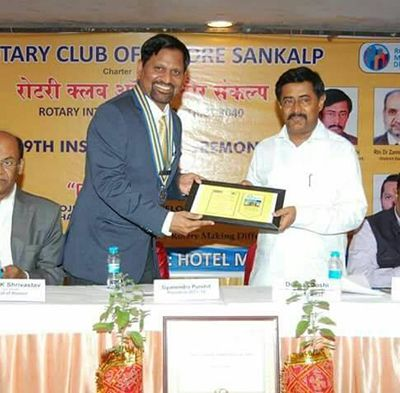 Gyanendra Purohit Receiving Rotary Club Award