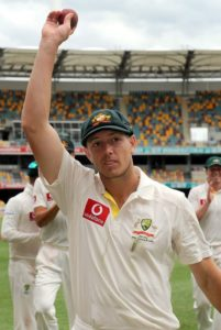James Pattinson displaying the ball after taking five-for on his test match debut