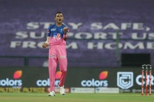 Kartik Tyagi pumped up after taking a wicket on his debut IPL match