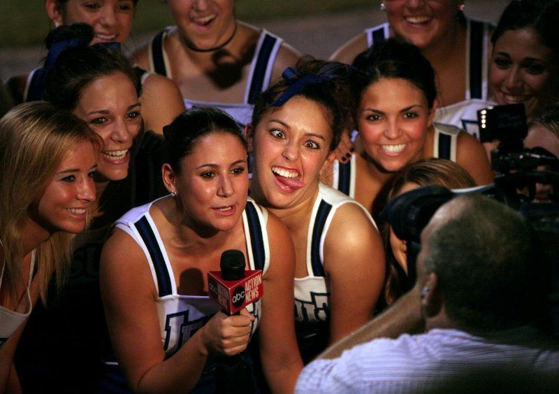 Kayleigh McEnany (far left) as a cheerleader for Academy of the Holy Names Catholic high school in Tampa, Fla., in 2005