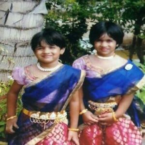 Mahashweta with her sister after performing in a school play